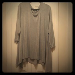 Gray long sleeve blouse with chiffon bottom
